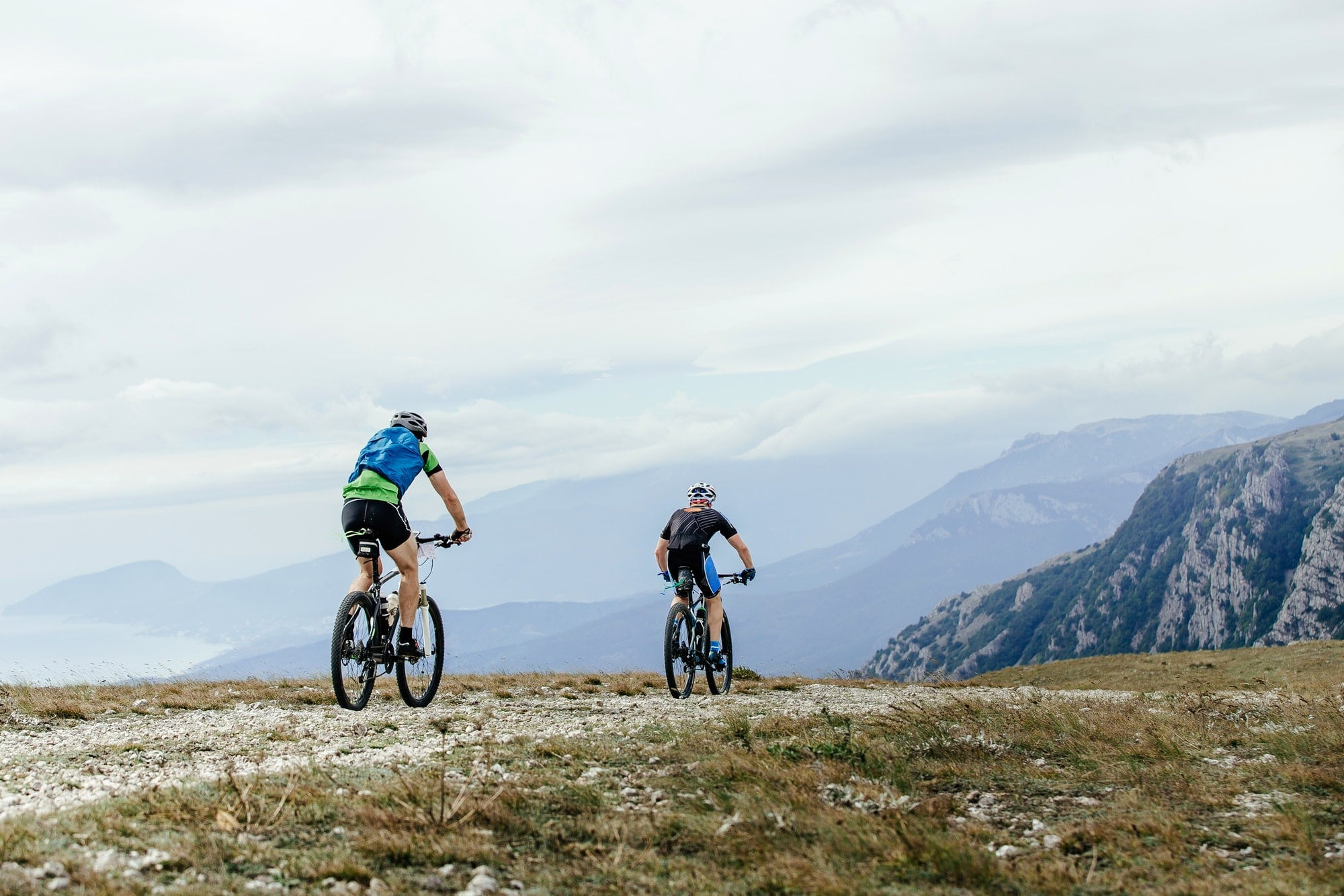 Two Men Cyclists on Mountainbike